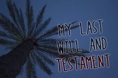La muestra del texto que muestra mi último y testamento Lista conceptual de la foto de cosas que se harán después de su azul de c fotografía de archivo libre de regalías