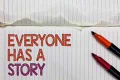 La muestra del texto que muestra todo el mundo tiene una historia Narración conceptual del fondo de la foto que dice a sus cuento imágenes de archivo libres de regalías