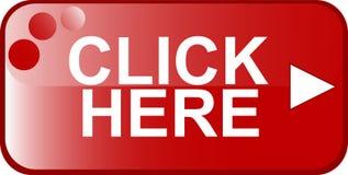 La muestra del Web del botón rojo hace clic aquí Fotografía de archivo libre de regalías