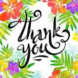 La muestra dibujada mano le agradece en marco brillante de las flores del trópico en estilo de la acuarela del grunge Foto de archivo libre de regalías
