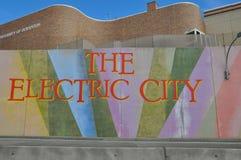 La muestra eléctrica de la ciudad, Scranton, Pennsylvania Imagenes de archivo
