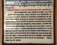La muestra en los campos camboyanos de la matanza describe las sustancias químicas usadas Imagen de archivo