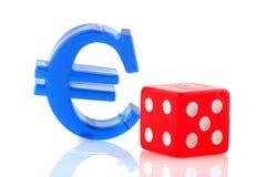 La muestra euro con corta en cuadritos Imagenes de archivo