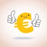 La muestra euro manosea con los dedos encima de personaje de dibujos animados de la mascota Fotos de archivo