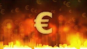 La muestra euro que pulsa en el fondo ardiente, dinero gobierna el mundo, avaricia, obsesión ilustración del vector