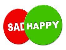 La muestra feliz muestra jubiloso positivo y el mensaje Imágenes de archivo libres de regalías