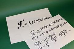 La muestra matemática del pi Imagen de archivo libre de regalías