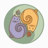 La muestra o el símbolo de Yin-Yang con los gatos y las lanas rosca las cápsulas Imagenes de archivo