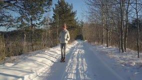La mujer aérea en chaqueta caliente disfruta de alza en bosque viejo del invierno almacen de metraje de vídeo