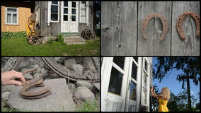 La mujer adorna la casa con el zapato retro de la rueda y del caballo collage almacen de metraje de vídeo