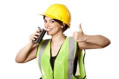 La mujer de la seguridad del alcohol manosea con los dedos para arriba Imagenes de archivo