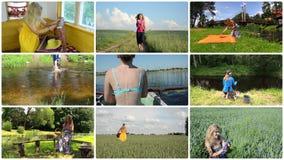 La mujer alegre pasa día de fiesta en naturaleza Ocio activo collage metrajes