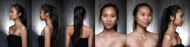 La mujer asiática antes compone estilo de pelo ningún retoque, cara fresca imagenes de archivo