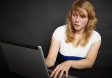 La mujer asusta el contenido de páginas de internet Fotos de archivo