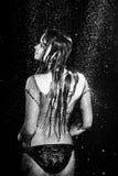 La mujer atractiva de la sesión de foto de la aguamarina debajo de la lluvia cae el estudio blanco y negro Fotos de archivo libres de regalías