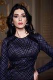 La mujer atractiva hermosa en la colección de moda del otoño del vestido elegante de maquillaje moreno largo del pelo de la prima Imagenes de archivo
