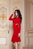 La mujer atractiva hermosa en la colección de moda del otoño del vestido elegante de maquillaje moreno largo del pelo de la prima Fotos de archivo