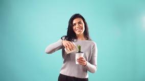 La mujer atractiva joven está creciendo la flor en casa Fondo azul aislado La mujer está encariñada con flores almacen de metraje de vídeo