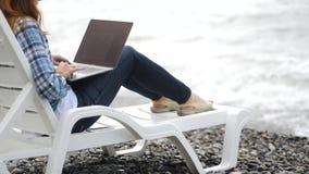 La mujer atractiva joven está trabajando en el ordenador portátil cerca con paisaje hermoso de la naturaleza y del agua en centro almacen de video
