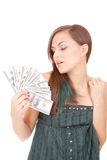 La mujer atractiva toma la porción de 100 cuentas de dólar Imagen de archivo