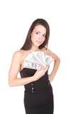 La mujer atractiva toma la porción de 100 cuentas de dólar Foto de archivo