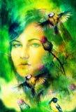 La mujer azul de la diosa observa con los pájaros en el contacto visual multicolor del fondo, collage de la cara de la mujer Fotos de archivo libres de regalías