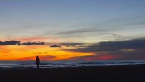 La mujer bastante joven está corriendo alrededor feliz por la costa en puesta del sol almacen de metraje de vídeo