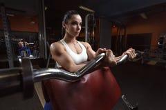 La mujer bastante joven está haciendo rizos del bíceps en el aparato del entrenamiento en el gimnasio imagenes de archivo