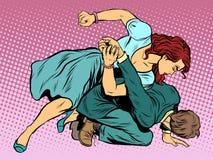 La mujer bate al hombre en lucha stock de ilustración