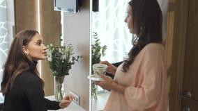 La mujer bonita dos está hablando con uno a cerca del espejo almacen de video