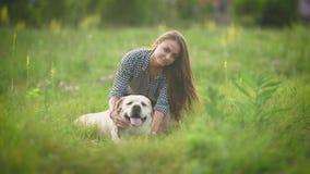 La mujer bonita está frotando ligeramente su Labrador blanco grande y está mirando in camera en un centro de un campo verde, hier metrajes