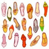 La mujer calza el modelo Textura del vector de diverso calzado ilustración del vector