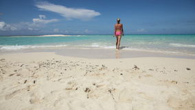 La mujer camina a lo largo de la playa metrajes