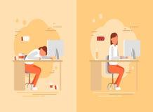 La mujer cansada en el trabajo, vector el ejemplo plano Imágenes de archivo libres de regalías