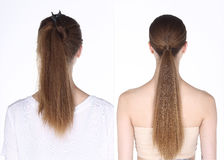 La mujer caucásica después de compone antes el pelo hace ningún retoque, fresco Fotos de archivo libres de regalías
