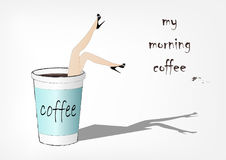 La mujer cayó en la taza de café de papel, ejemplo del vector de la moda, Fotos de archivo