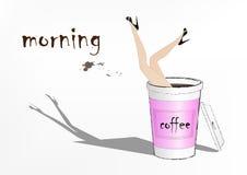 La mujer cayó en la taza de café de papel rosada, ejemplo del vector de la moda Foto de archivo libre de regalías