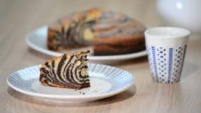 La mujer come el pedazo de torta de la `` cebra `` metrajes
