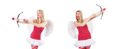 La mujer con el arco en concepto de la tarjeta del día de San Valentín fotos de archivo libres de regalías