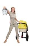 La mujer con el cochecito de niño aislado en blanco Imagenes de archivo