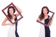 La mujer con el marco en blanco fotos de archivo