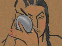 la mujer con el palillo Imagen de archivo libre de regalías