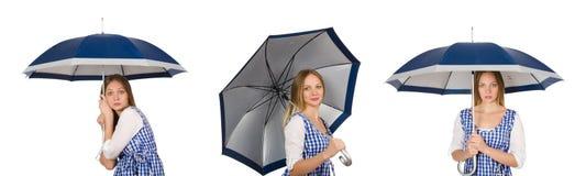 La mujer con el paraguas aislado en blanco Imagen de archivo libre de regalías