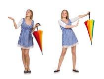 La mujer con el paraguas aislado en blanco Foto de archivo libre de regalías