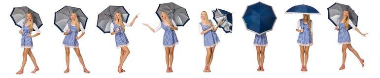 La mujer con el paraguas aislado en blanco Imagenes de archivo