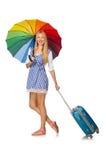 La mujer con el paraguas aislado en blanco Fotos de archivo libres de regalías
