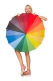 La mujer con el paraguas aislado en blanco Fotografía de archivo