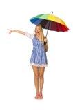 La mujer con el paraguas aislado en blanco Foto de archivo