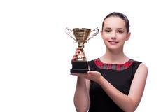 La mujer con el premio de la taza en blanco imagen de archivo libre de regalías