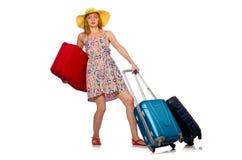 La mujer con la maleta aislada en blanco imagenes de archivo